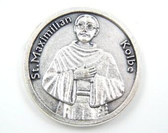 LARGE Saint Maximilian Kolbe Catholic Medal - Patron Saint of Addiction Recovery Religious Charm - NA Medal - AA Pocket Medallion