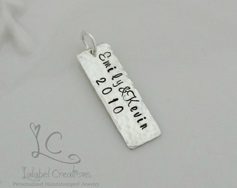Hand Stamped Tag, Sterling Silver Hand Stamped Rectangle Tag, Personalized Charm, Add on Tag, Add a charm, Personalized Hand Stamped Jewelry