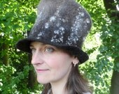 Felted Top Hat - Natural Fin Wool with Curly Locks