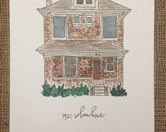 Custom Watercolor and Ink Home Address Painting