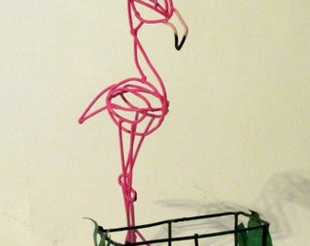 Pink Flamingo business card holder