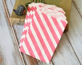 DARK PINK Big DIAGONAL Stripe Paper Bags