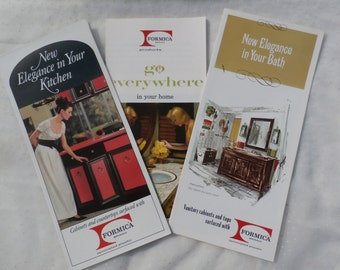 Formica Products, Set of 3 Different 1960s Era Brochures, Fun Retro Decor, Kitchen, Bath
