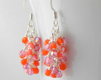 Pink and Orange Dangle Earrings with Sterling or Steel Ear Wires