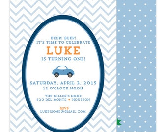 Little Blue Car Preppy Boy's Birthday Party Invitation | Set of 20 Double-Sided Invitations