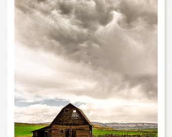 A Quiet Storm - Old Barn Photograph - Rustic Farmhouse Decor  - Colorado Photography - Storm Photo - Country Barn Art