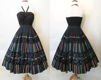 Wonderful 1950's Hand Painted Circle Skirt with Rhinestones and Flocking Rockabilly Vlv Pinup Novelty Print Size-Medium