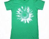 Sunflower Tshirt - Unisex - Sunflower Shirt -  Green - Cotton - Small, Medium, Large and Extra Large