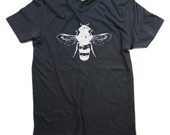Mens Honey Bee T-Shirt - Grey Organic Cotton T-shirt  - Organic shirt - Small, Medium, Large, XL, XXL - Clothing