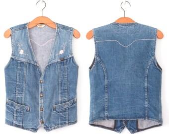 Vintage Denim Vest * 70s Embroidered Vest * Stonewash Jean Waistcoat * Medium - Large