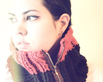 Ribbed Zipper Cowl Scarf - Salmon and Brown