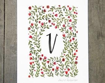 Monogram Letter V floral art print