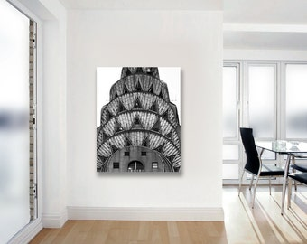 Chrysler Building, Canvas Wall Art, Architecture, Art Deco, Black and White New York Photography on Canvas, NYC Art
