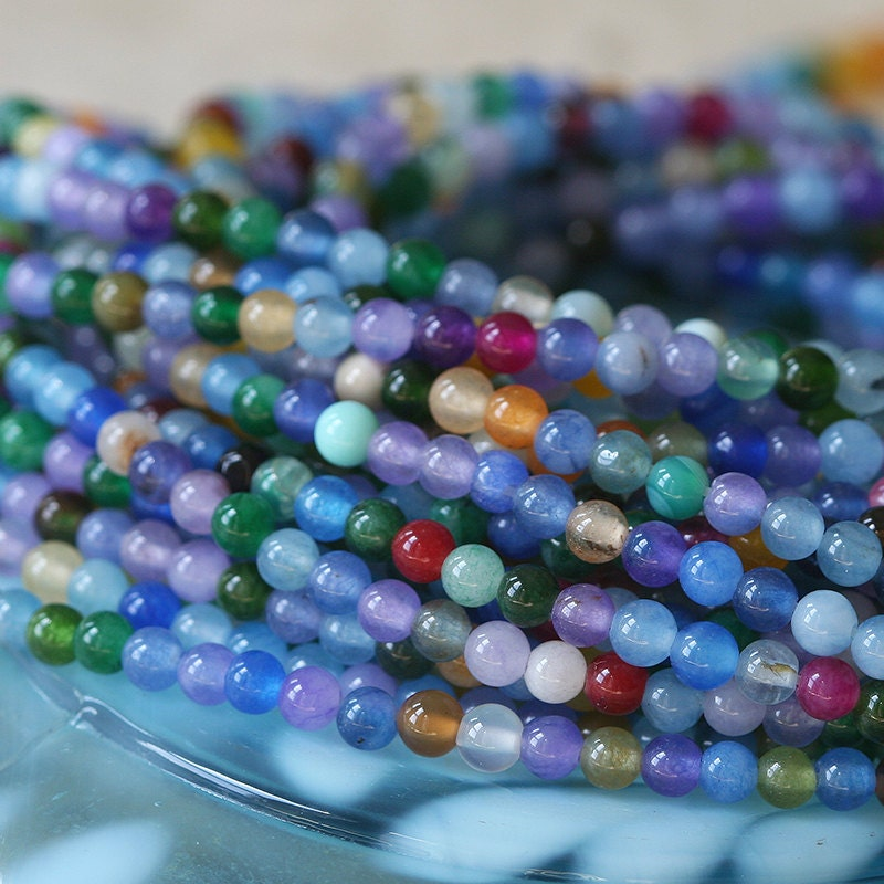 3mm Round Gemstone Beads Jewelry Making Supplies Dyed
