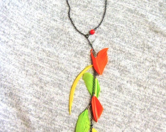 Feather Necklace Lariat Gift for Her Mom Gift Statement Necklace Orange Yellow Neon Boho Necklace Bohemian Necklace for Her Christmas