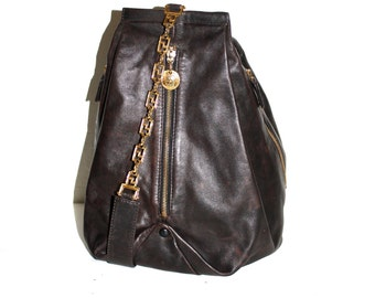 GIANNI VERSACE COUTURE Vintage Pyramid Backpack Brown Leather Medusa Sling Tote  - Authentic -
