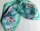 blue-mint-pink silk scarf tulip motive hand painted silk scarves collection-long scarf-decorative floral motive scarf 18x72 inches