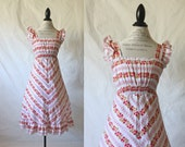 c1970's Red Calico Floral Dress Sz XS/S