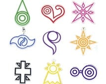 Double Sided Digimon Crest Symbol Friendship Courage Sincerity Love Kindness Hope Knowledge Light Reliability Phone Game Charm Strap