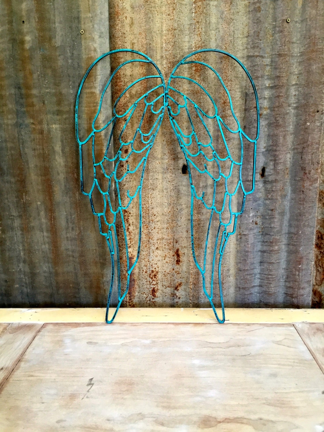 Distressed Metal Wall Decor : Teal distressed metal wall decor angel wings by