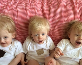Smores TRIPLET Set of bodysuits/baby one-pieces, Great Shower gift for TRIPLETS or siblings