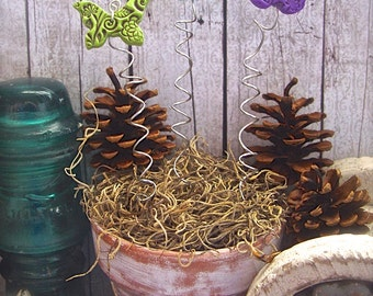 Whimsical Butterfly Plant Stakes Set of 3 Polymer Clay Butterflies, Fairy Garden Decor, Indoor Outdoor Garden Art Gift For Gardener