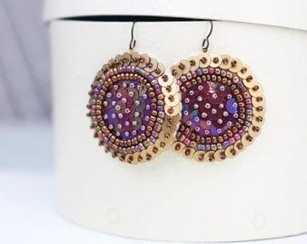 Beaded Disc Earrings, Gold Burgundy Brown Sequins, Hand embroidered felt Jewelry, Women Statement Earrings, Hoop Circle Earring, Modern Boho