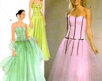 """OOP Jessica McClintock Evening or Prom Dress Pattern - Simplicity 4686 - Up to 32"""" Bust FF UNCUT"""