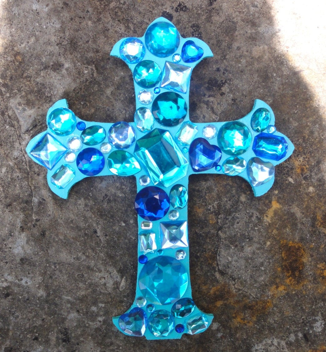 Jewelled Wall Decoration : Turquoise rhinestone jeweled cross wall decor ocean blue