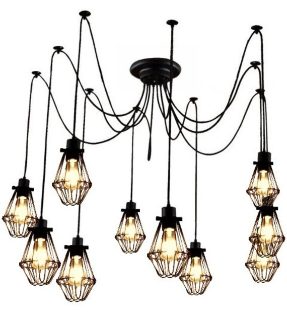 9 cage pendant light chandelier hanging by hangoutlighting. Black Bedroom Furniture Sets. Home Design Ideas