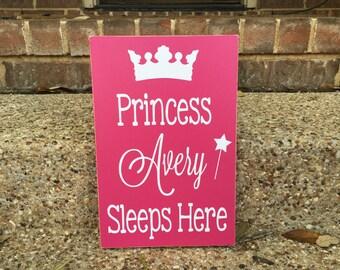 Princess Room Decor ~ Princess Sleeps Here Custom Wood Sign ~ Little Girl Sign ~ Princess Sign ~ Daughter Room Decor ~ Princess Wall Art