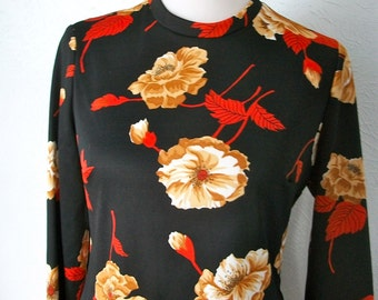 Vintage 70s black and orange Autumn 3 piece set - top, skirt, and scarf - sz 10/12