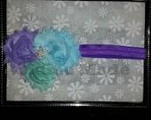Mermaid Headband Mermaid Shabby flower headband Starfish Headband Under the Sea headband with lavender, mint and aqua shabby flowers