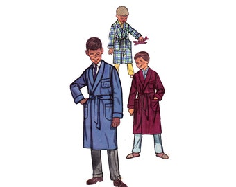 50s Boys Wrap Robe Pattern Simplicity 3242 Vintage Sewing Pattern Monogram Transfers Dressing Gown Size 8 Chest 26 inches inches