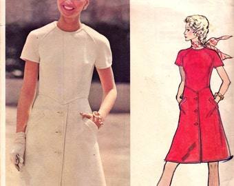 70s VALENTINO Coat Dress Pattern Vogue Couturier Design 2730 Front Button Trim Mod A Line Dress Size 12 Bust 34 inches UNCUT Factory Folds
