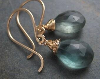 Water Drops Moss Aquamarine Briolette Earrings - Faceted Tear Drops -  Gold Filled Hook Earrings