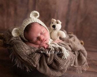 Newborn photo prop, newborn hat, newborn boy, newborn girl, newborn props, Newborn bonnet with ears.  Available in over 50 colors