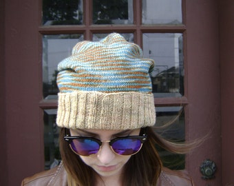 Hand Knit Slouchy Hat - Will Fit Teens to Adult Woman or Man