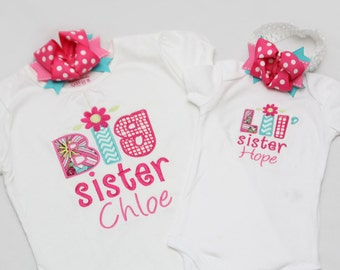 Big Sister Shirt and Little Sister Shirt - Personalized Initial Applique with Matching Bows