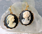 Cameo Earrings Victorian Lady Cameo Earrings Woman Cameo Round Ivory & Black Cameo Drops Girl Cameo Black Earrings Vintage Style Gold Bezel