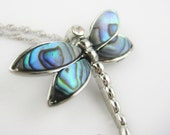 Sterling Silver Dragonfly Necklace - Abalone Jewelry - Dragon Fly Jewelry - Abalone Shell Necklace Pendant
