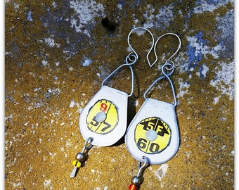 Upcycled Earrings, Assemblage, Vintage Tin, Tape Measure, Assemblage Earrings, Construction, Carpenter, DIY Statement, Sterling Wires, USA