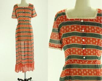 1960's Cotton Floral Maxi Dress S M Hippie Boho Festival