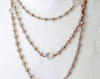 Long Gold Chain Necklace Crystals and Pearls Flapper Style