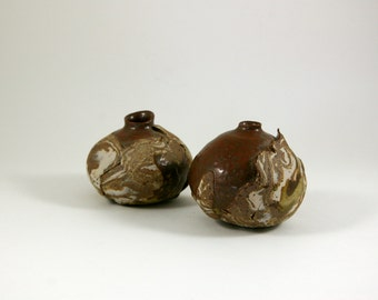 Two Studio Pottery Modernist Weed Pots