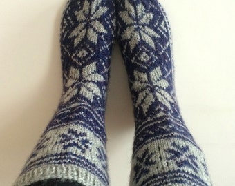 Hand Knit Wool Navy Blue and Grey Scandinavian Socks Nordic Star For Men