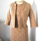 Pink Wiggle Dress With Matching Jacket Pink Dusty Rose With Gold Metalic Thread Floral Design Wool Knit Fabric M-L