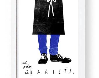"Barista - art print 11""x15 - archival fine art giclée print"