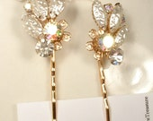 Blush Champagne Rhinestone & Ivory Pearl Bridal Bobby Pin Pair, Vintage Gold Hair Clips OOAK Set 2 Bridesmaid Gift Rustic Country Wedding