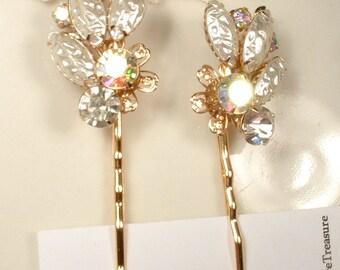 Vintage Champagne Rhinestone & Ivory Pearl Bridal Bobby Pin Pair, Vintage Gold Hair Clips OOAK Set 2 Bridesmaid Gift Rustic Country Wedding